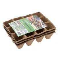 3 Plaques de 12 Godets Biodégradables Carrés Teragile