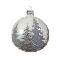 Boule de Noël en Verre Forêt de Sapins